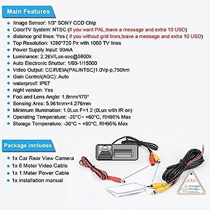 Dynavsal-Auto-HD-CCD-Rueckfahrkamera-170-Weitwinkel-mit-Radar-Sensor-Einparkhilfe-Universal-NTSC-Rueckfahrcamera-Vehicle-Specific-Camera-Integrated-in-Number-Plate-Light-Schwarz-fuer-Vectra-C-Caravan-