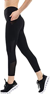 Running Workout Leggings with Pockets for Women High Waist Tummy Control Yoga Pants Stretch Sport Tights