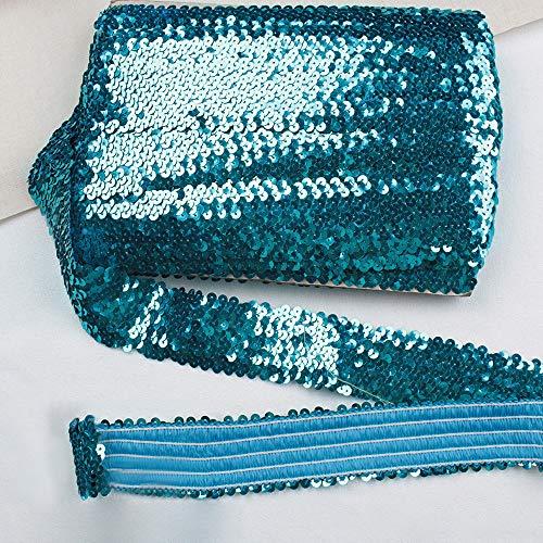 TROYSINC Paillettenband,12M Elastisch Farbiges Paillettenborte,4.5cm Breites Bortenband Pailletten für DIY Kunsthandwerk,Kleiderherstellung (Türkis)