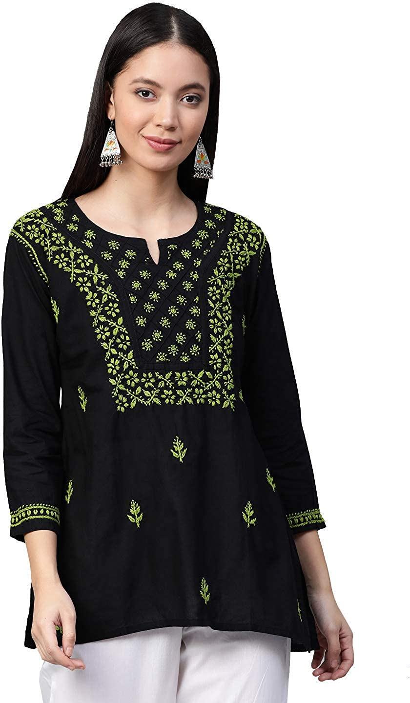 Ada Indian Hand Embroidered Pure Cotton Chikan Top Tunic Blouse for Women A100555