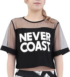 [RONDEL-BLACK(ロンデルブラック)] シースルーデザイン ショート丈 トップス Tシャツ 半袖 黒 ブラック ダンス衣装