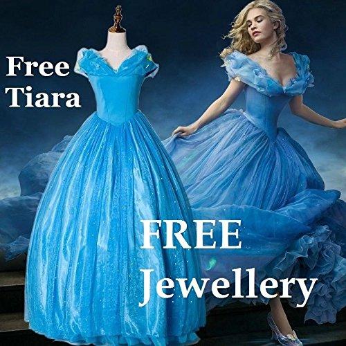 B-Creative Disfraz de Cenicienta para adultos, color azul, peluca de fiesta, juego de joyas gratis tiara (S 6-8)