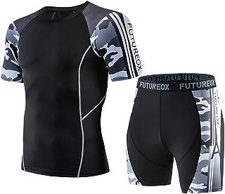 スポーツシャツ スポーツウェア セット コンプレッションウェア + ショート パンツ メンズ Tシャツ 半袖 吸汗速乾 通気性 ドライフィット トレーニングウェア コンプレッションウェア トップス 圧着スポーツインナー アンダーウェア 加圧 Keysims