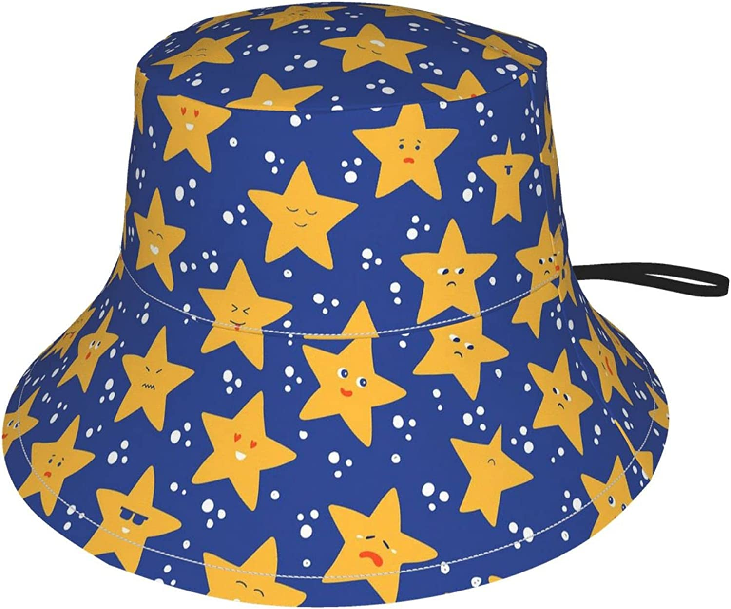 Cute Stars Kids Bucket Hat Sun Protection Hat for Boys Girls Breathable Summer Play Hat