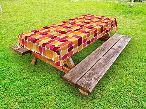 ABAKUHAUS Jahrgang Outdoor-Tischdecke, Bauhaus Geometric Retro, dekorative waschbare Picknick-Tischdecke, 145 x 305 cm, Mehrfarbig