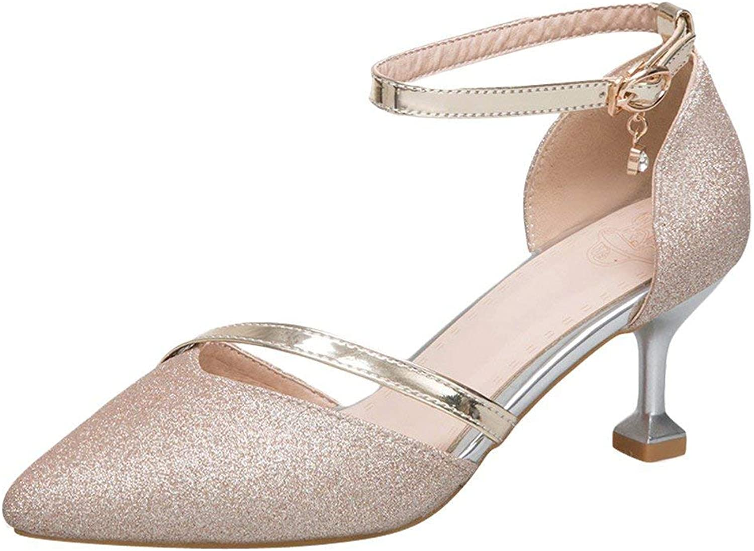 Gcanwea Women's Kitten Heel Ankle Strap Elegant D'Orsay shoes Fashion Sexy Non-Slip Rubber Sole Simple Pointed Toe Joker Mid Heels Ladies Comfortable Silver 4.5 M US shoes