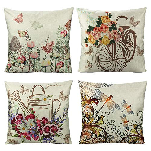 VAKADO Outdoor Butterfly Flowers Throw Pillow Covers Garden Summer Spring Floral Dragonfly Pot Bike Insects Decorative Cushion Cases Home Decor for Porch Patio Couch Sofa 18x18 Set of 4