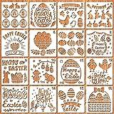 HOWAF 16pcs Pascua Plantillas de Pintura Set Plantillas de Dibujo para Niños de Plástico Plantillas de Pascua Huevo Conejito para Pintar Plantillas Reutilizable para Niños Bricolaje Manualiadades