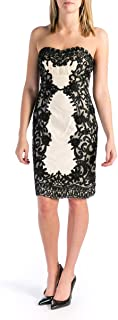 Sue Wong Womens Lace Strapless Cocktail Dress Black-Ivory 8