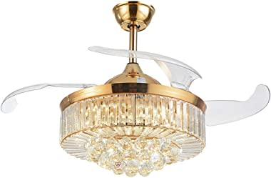 42-Inch Crystal Ceiling Fan Light With Remote Control Invisible Retractable 4 Blade Gold Mute Fan Chandelier 3 Colors Change (Style 7)