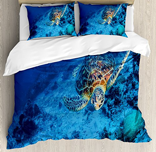 Ambesonne Turtle Duvet Cover Set, Oceanic Wildlife Themed Photo of Sea Turtle in Deep Blue Waters Coral Reef Hawaiian, Decorative 3 Piece Bedding Set with 2 Pillow Shams, Queen Size, Blue
