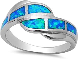 Sterling Silver Lab Created Blue Opal Inlay Ring 16342