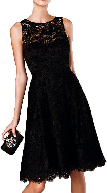 MILANO BRIDE Woman Black Lace Aline Scoop Short Prom Cocktail Dress