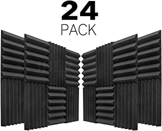 JBER 24 Pack Charcoal Acoustic Panels Studio Foam Wedges Fireproof Soundproof Padding Wall Panels 2
