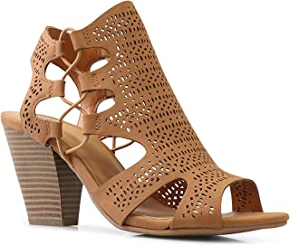 LUSTHAVE Women's Laser Cut Ziggy Chunky Stacked Elastic Band Sandals Shoes