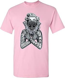 2 Gun Tattooed Marilyn Monroe Bandana Men's T-Shirt Blonde Bombshell Tee