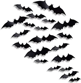 Antner Halloween Party Supplies PVC 3D Bats Halloween DIY Decorative Scary Bats Wall Decal Wall Sticker, Halloween Eve Dec...