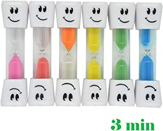 Hatisan Kids Tooth Brushing Sand Timer - 3 Minute Smiley Hourglass (6Pcs, 6 colors set)