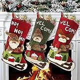 Ausein Calcetín de Navidad 3 pcs,Bolsa de Regalo de Saco de Navidad para la decoración del árbol,Adorno de Navidad Bolsa de Dulces, Calcetín de decoración navideña para llenar y Colgar (46 * 25...