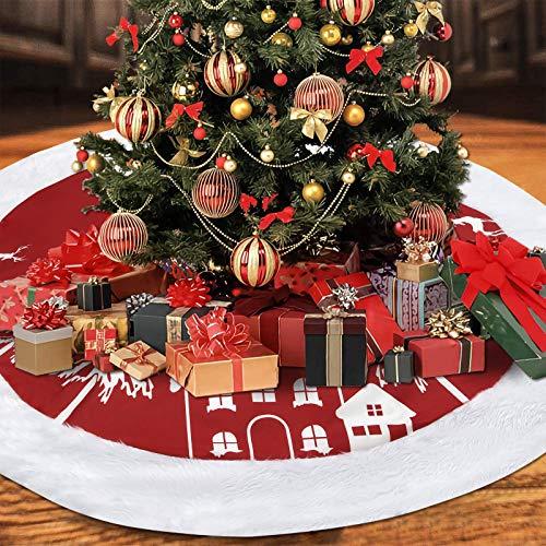 Yastouay Rot Weiß Weihnachtsbaum Röcke, Schneehaus Rentier Weihnachtsbaum Teppich Decke, Lange Plüsch Baumdecke Unterlage für Weihnachten Home Party Dekoration, 120 cm