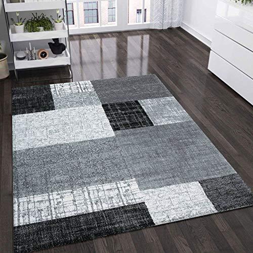VIMODA Teppich Wohnzimmer Kurzflor Designer Teppiche in Schwarz Grau Weiß Kachel-Optik Kariert Pflegeleicht, Maße:160x230 cm