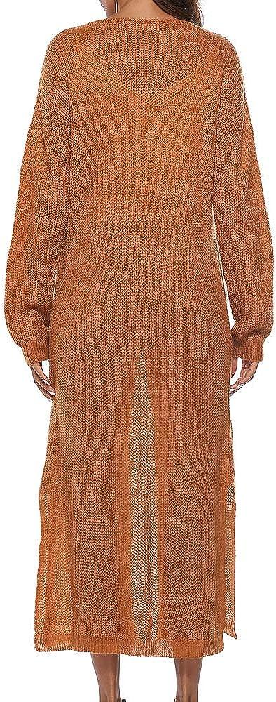 Vertvie Damen Mantel Langarm Open Front Cardigan Strickjacke Asymmetrisch Schnitt Strickmantel Langshirt mit Taschen Erde Gelb