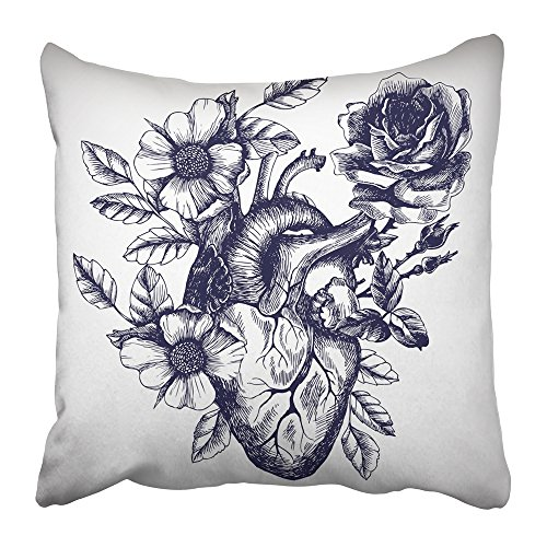 Emvency Throw Pillow Cover Square 16x16 Inches Anatomic Blooming Anatomical Human Heart in Vintage Style Design for Your Tattoo Other Engraving Polyester Decor Hidden Zipper Print On Pillowcases