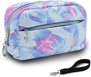 UYRIE Makeup Pouch Travel Cosmetic Bag with Zipper Waterproof Storage Bag Portable Toiletry Pouch Organizer Bag for Girls, Women (Rectangle-Blue)