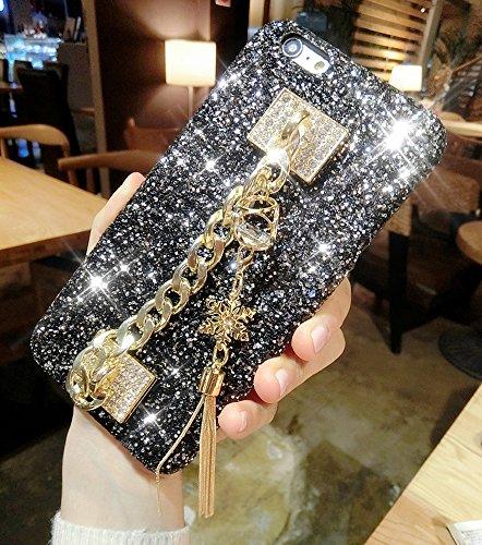 Ikasus - Funda para iPhone 8 y iPhone 7, diseño de copos de nieve con borlas en 3D, hecho a mano, diamantes de imitación de lujo, con diamantes de imitación, para iPhone 8/iPhone 7