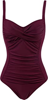 Womens Retro One Piece Swimsuit Tummy Control Slimming Bathing Suit Ruched Swimwear(Size 6-24w)