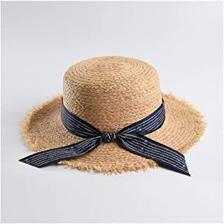 Natural Lafite Straw hat Female Wild Flat top hat Letter Ribbon Beach hat Visor` TuanTuan (Color : Navy, Size : M56-58cm)