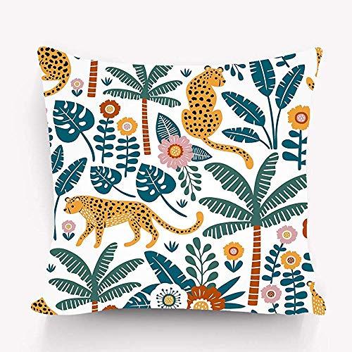 Decoraties Gooi Kussen Cover Perfect Stof Behang Inpakpapier Hand getrokken Luipaarden Palm bomen Exotische Planten Mooie 45X45cm