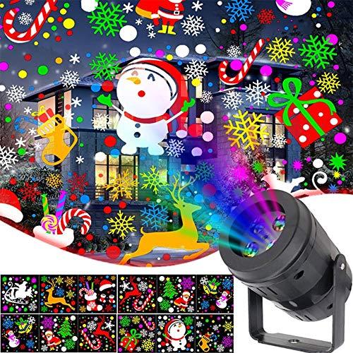 paomo Proiettore Luci LED Natale, Proiettore Natale Luci Natalizie, LED 360° Rotazione di Proiettore Illuminazione, 16 Modelli, Matrimonio, Halloween, Compleanno, Festa, Giardino