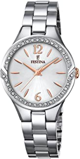 Festina F20246/1 Two-Tone Stainless Steel Stone Embellished Bezel Round analog Watch for Women - Silver