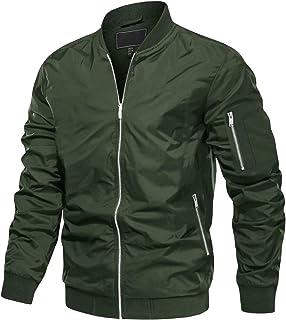 MAGCOMSEN Mens Casual Athletic-Fit Bomber Jackets Zipper Pockets Full-Zip Lightweight Varsity Baseball Coats
