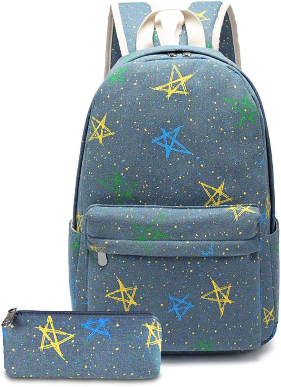 Schultasche Für Mädchen Leichter Schulrucksack Damenmuster Reiserucksack Teenagerrucksäcke Casual Schultasche,Blau B07MX92K1F  Qualifizierte Herstellung
