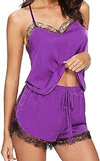 Women Fashion Solid Lace up Sleepwear Set ❀ Ladies Sleeveless Sling Nightwear Pajamas Soft Comfortable Two Piece Bathing S...