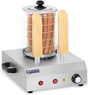 Royal Catering Macchina Hot Dog Maker Cuoci Hot Dog con 2 Steli RCHW-350-2 (422 W, Temperatura fino a 97 °C, Vetro tempera...