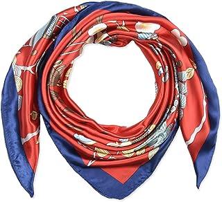35 بوصة المرأة مربع الحرير يشعر الأوشحة وشاح الرأس للنوم الحمم الأحمر فينيكس والصنوبر نمط