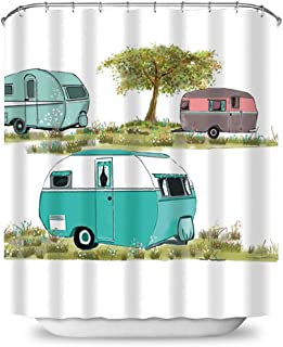 Payanwin Camper Stall Shower Curtain, Caravan Mid Fifties Cartoonish Campers Pattern Van Vespa Waterproof Polyester Fabric 72 x 72 inches Set with Hooks