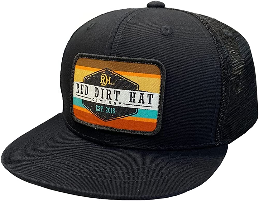 Red Dirt Hat Company Youth Original Army Sunset Style Logo Patch Adjustable 6-Panel Hat Black