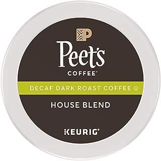 Peet's Coffee Decaf House Blend, Dark Roast, 16 Count Single Serve K-Cup Decaffeinated Coffee Pods for Keurig Coffee Maker