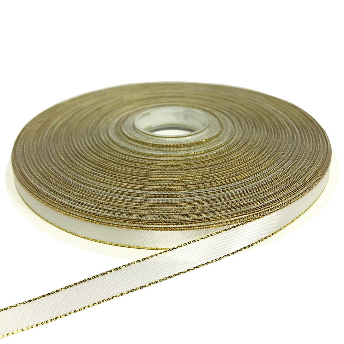PartyMart 3/8 Inch Satin Ribbon with Golden Edges, 100 Yards, Off-White
