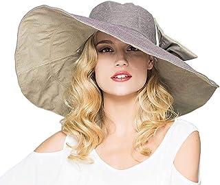 Elonglin Womens Super Large Brim Beach Hat Brim Foldable with Bowknot Beach Cap Sun Hat Anti-Sunlight Anti-UV
