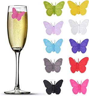 Accering 3D Drink Glass Makers, Silicone Party Wine Charms Glass Bottle Tags for Guests, Hostess Gift, Dinner Parties - 10 pieces