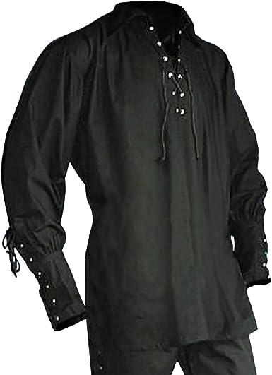 Elbenwald Medievales Hombres de la Camisa de Encaje Negro ...