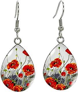 Hand-drawn poppies earrings