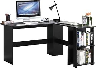 SDHYL Bureau d'angle en forme de L pour ordinateur, station de travail pour la maison, le bureau avec étagère ouverte de r...