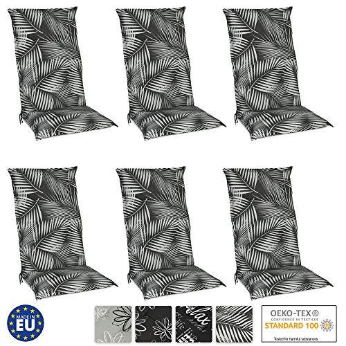 Beautissu Set de 6 Cojines para sillas de Exterior y jardín con Respaldo Alto Tropic 120x50x6 cm tumbonas, mecedoras, Asientos cómodo Acolchado Resistente a Rayos UV