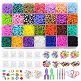 12000+ Rubber Bands Bracelet Kit in 28 Unique Colors, Loom Bracelet Craft Kit with Accessories for Kids Gift, Loom Rubber Bands